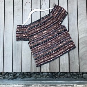 MOSSIMO Multicolor Stretchy Short Sleeve Crop Top